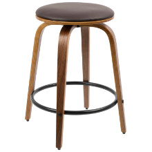 Porto Mid-century Modern Counter Stools with Swivel - Set Of 2 in Walnut and Brown