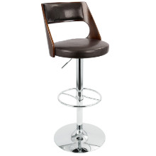 Presta Height Adjustable Mid-century Modern Barstool with Swivel in Cherry and Brown