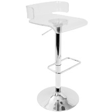 Pride Contemporary Adjustable Barstool in Clear Acrylic