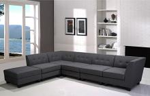 Best Master R168-6PC 6 pc Clayton gray linen blend fabric modular sectional sofa