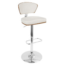 Ravinia Height Adjustable Mid-century Modern Barstool with Swivel in Walnut and White