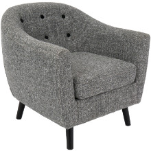 Rockwell Mid-Century Modern Chair with Noise Fabric in Dark Grey