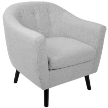 Rockwell Mid-Century Modern Chair with Noise Fabric in Light Grey