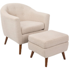 Rockwell Mid-Century Modern Chair With Ottoman Included in Beige