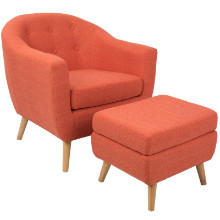 Rockwell Mid-Century Modern Chair With Ottoman Included in Orange