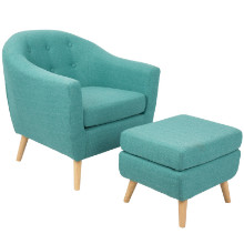 Rockwell Mid-Century Modern Chair With Ottoman Included in Teal