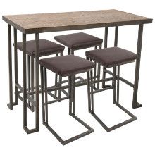 Roman 5pc Industrial Counter Height Dining Set