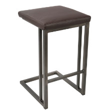 Pair of Roman Industrial Counter Stools in Espresso and Antique Frame