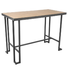 Roman Industrial Counter Table in Grey Metal and Natural Bamboo
