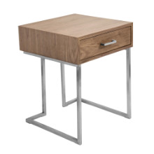 Roman Contemporary End Table in Walnut Wood and Stainless Steel
