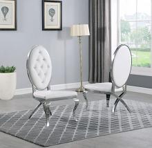 Best Quality SC60 Set of 2 Francis navy white faux leather tufted chrome tone legs dining chairs