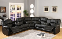Mc Ferran SF3591-3PC 3 pc townsend collection black leather like vinyl with white accented stitching and recliner ends sectional sofa