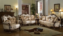Mc Ferran SF8700 2 pc bridgette multi tone and pattern chenille fabric upholstered sofa and love seat with wood trim