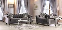 SM2229 2 pc Rosorf park Antionette gray velvet fabric sofa and love seat set tufted backs
