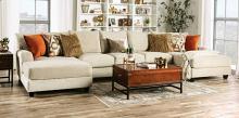 SM5218 3 pc Hokku designs carnforth tan textured microfiber fabric U shaped double chaise sectional sofa
