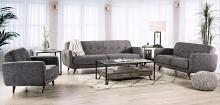 SM6044 2 pc Hokku designs siegen light grey fabric mid century modern sofa and love seat set