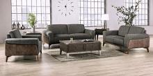 SM6045 2 pc Hokku designs kloten light grey two tone fabric and leatherette mid century modern sofa and love seat set