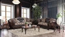 SM6416 2 pc Quirino light brown dark brown sofa and love seat set with carved wood accents
