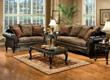 SM7630 2 pc rotherham cognac floral design fabric wood trim sofa and love seat