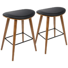 "Saddle 26"" Mid-Century Modern Counter Stool in Walnut and Black PU Leather  - Set of 2"