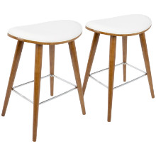 """Saddle 26"""" Mid-Century Modern Counter Stool in Walnut and White PU Leather  - Set of 2"""