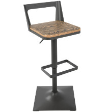 Samurai Industrial Barstool with Grey Frame and Brown Wood