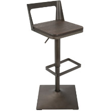 Samurai Industrial Barstool with Antique Frame and Espresso Wood