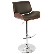 Santi Height Adjustable Mid-century Modern Barstool with Swivel in Cherry and Brown