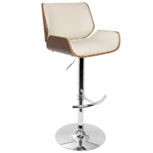 Santi Height Adjustable Mid-century Modern Barstool with Swivel in Walnut and Cream