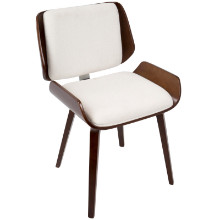 Santi Mid-Century Modern Dining/Accent Chair in Cherry with White Fabric  - Set of 2