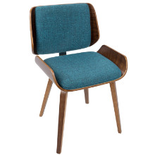 Santi Mid-Century Modern Dining/Accent Chair in Walnut with Turquoise Fabric  - Set of 2