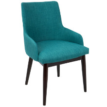 Santiago Mid-Century Modern Dining / Accent Chair Teal Fabric Upholstery - Set of 2