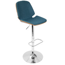 Serena Mid-Century Modern Barstool in  Blue Fabric and Walnut Wood