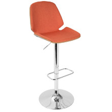 Serena Mid-Century Modern Barstool in  Orange Fabric and Walnut Wood