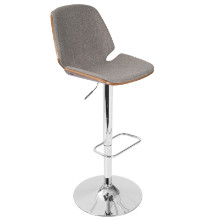 Serena Mid-Century Modern Barstool in  Grey Fabric and Walnut Wood