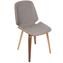 Lumisource CH-SER-WL-LGY2 Serena Mid-Century Modern Dining Chairs in Light Grey Fabric and Walnut Wood  - Set of 2
