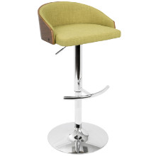Shiraz Mid-Century Modern Adjustable Barstool in Walnut and Green