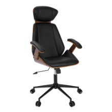 Lumisource OC-SPEC-WL-BK Spectre Mid-Century Modern Walnut Wood Office Chair in Black