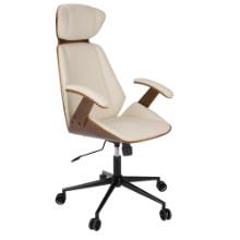 Spectre Mid-Century Modern Walnut Wood Office Chair in Cream