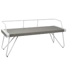 Stefani Industrial Bench in White Metal and Grey Wood