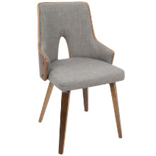 Stella Mid-Century Modern Padded Chair in Walnut and Light Grey -Set of 2