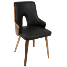 Stella Mid-Century Modern Dining Chair in Walnut and Black PU - Set of 2