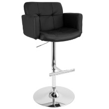 Stout Height Adjustable Contemporary Barstool with Swivel in Black