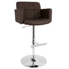 Stout Height Adjustable Contemporary Barstool with Swivel in Brown