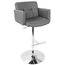 Stout Height Adjustable Contemporary Barstool with Swivel in Grey