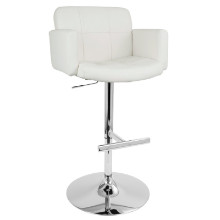 Stout Height Adjustable Contemporary Barstool with Swivel in White