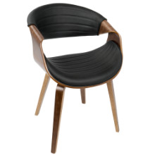 Symphony Mid-Century Modern Dining / Accent Chair in Walnut Wood and Black PU