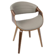 Symphony Mid-Century Modern Dining / Accent Chair in Walnut Wood and Grey PU