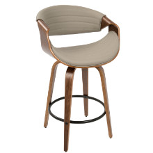 Symphony Mid-Century Modern Counter Stool+ in Walnut and Grey PU