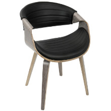 Symphony Mid-Century Modern Dining / Accent Chair in Light Grey Wood and Black PU